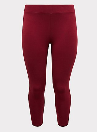 Crop Premium Legging - Red Wine, BEET RED, flat