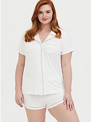 Mrs. White Button Front Sleep Shirt, WHITE, alternate