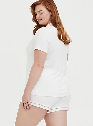 Mrs. White Button Front Sleep Shirt, WHITE, alternate