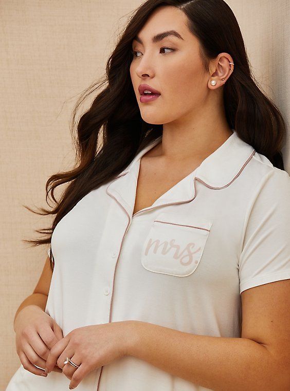 Mrs. White Button Front Sleep Shirt, , hi-res