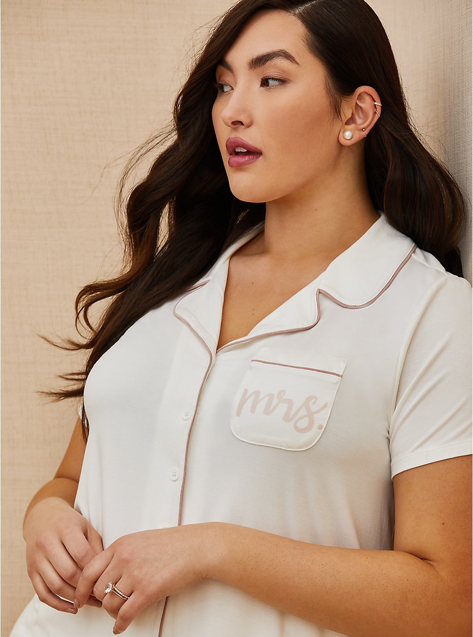 Mrs. White Button Front Sleep Shirt, WHITE, hi-res