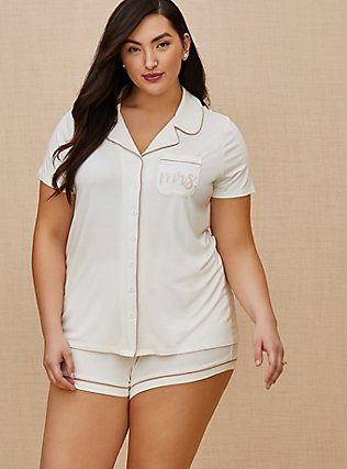Mrs. White Button Front Sleep Shirt, WHITE, pdped