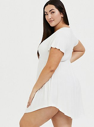 White Lace Trim V-Neck Sleep Chemise , WHITE, alternate