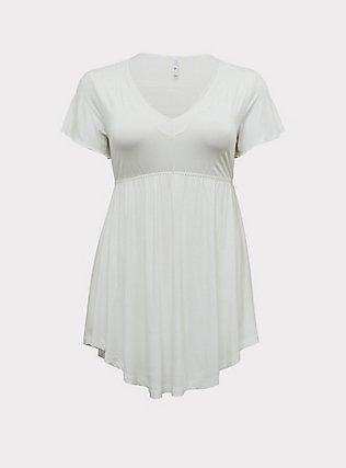 White Lace Trim V-Neck Sleep Chemise , WHITE, flat