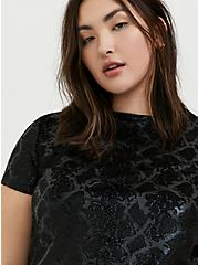 Black Snakeskin Print Velvet High Neck Tee, SNAKESKIN-BLACK, hi-res