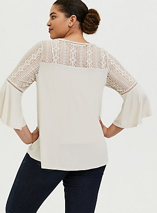 Super Soft Ivory Lace Bell Sleeve Top, BIRCH, alternate