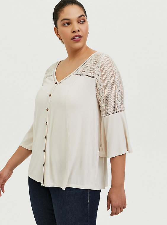 Super Soft Ivory Lace Bell Sleeve Top, , hi-res
