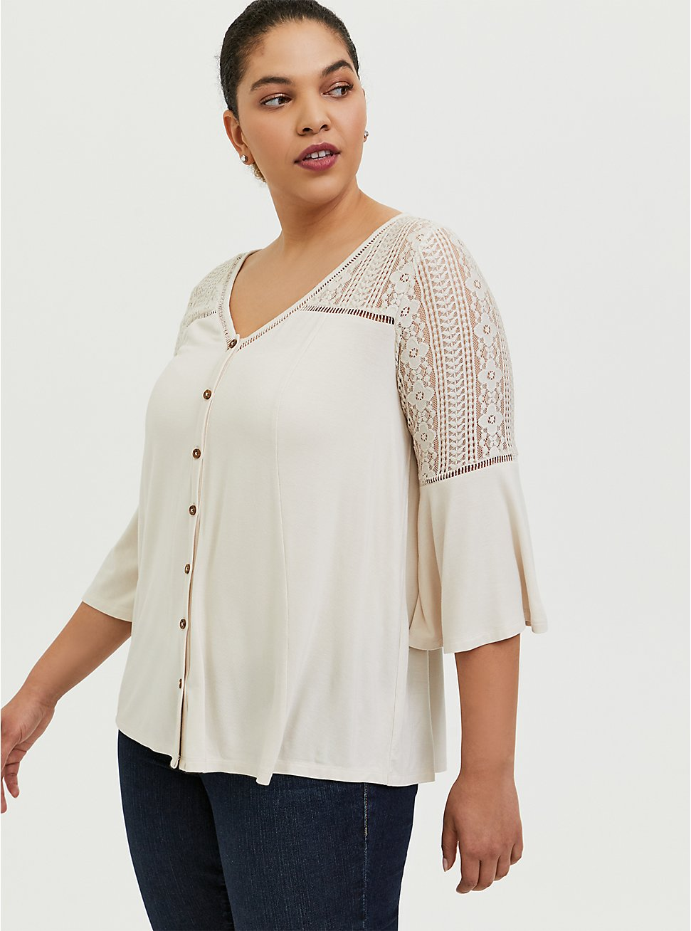 Super Soft Ivory Lace Bell Sleeve Top, BIRCH, hi-res