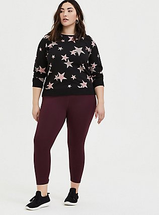 Black & Pink Stars Fleece Raglan Sweatshirt, STARS - BLACK, alternate