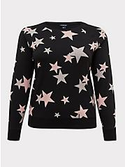 Black & Pink Stars Fleece Raglan Sweatshirt, STARS - BLACK, hi-res