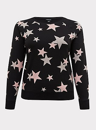 Black & Pink Stars Fleece Raglan Sweatshirt, STARS - BLACK, flat