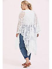Ivory Mesh Embroidered Ruana, , alternate