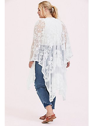 Plus Size Ivory Mesh Embroidered Ruana, , alternate