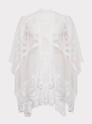 Plus Size Ivory Mesh Embroidered Ruana, , flat
