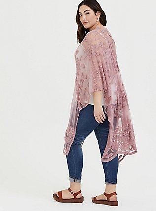 Plus Size Blush Pink Mesh Embroidered Ruana, , alternate