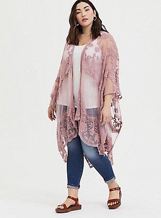 Plus Size Blush Pink Mesh Embroidered Ruana, , hi-res