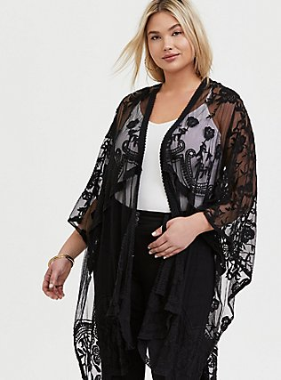 Black Mesh Embroidered Ruana, , alternate