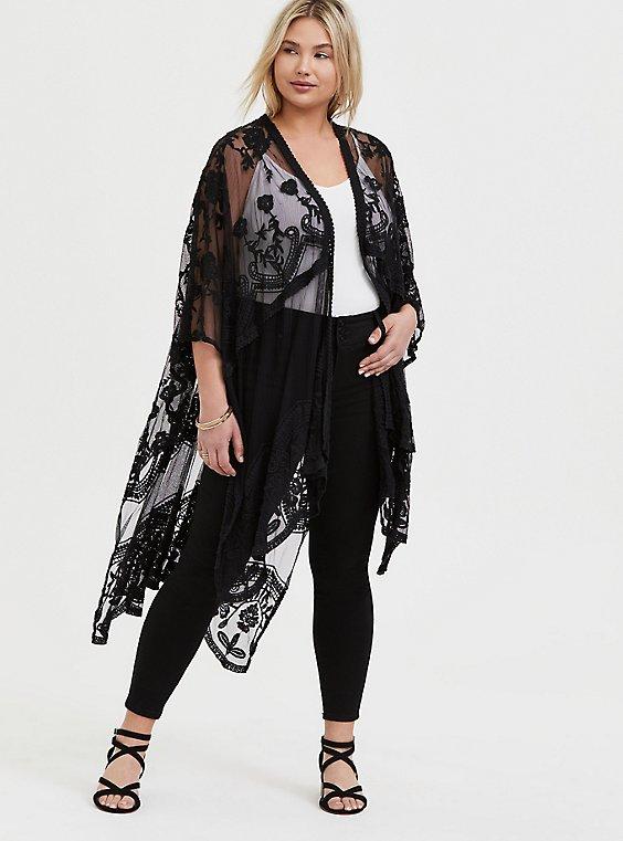 Plus Size Black Mesh Embroidered Ruana, , hi-res