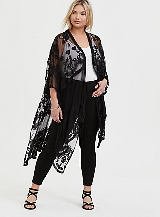 Black Mesh Embroidered Ruana, , hi-res