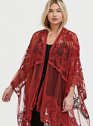Red Terracotta Mesh Embroidered Ruana, , alternate