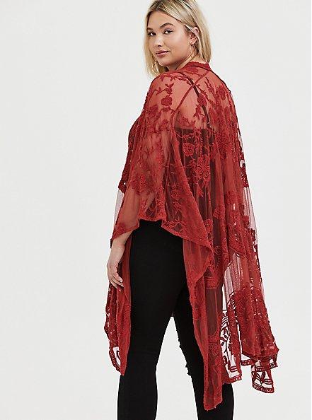 Plus Size Red Terracotta Mesh Embroidered Ruana, , alternate
