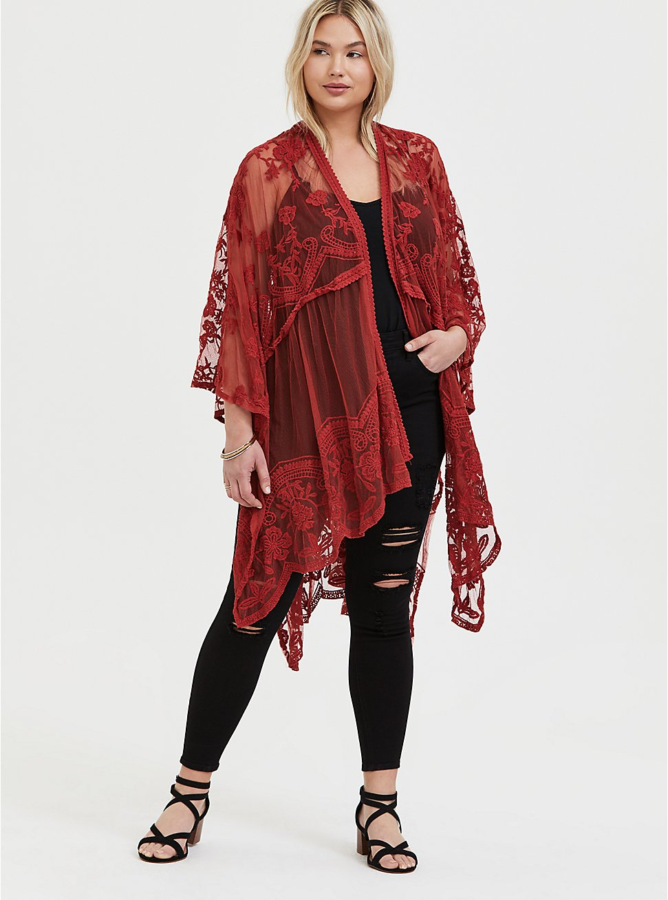 Plus Size Red Terracotta Mesh Embroidered Ruana, , hi-res