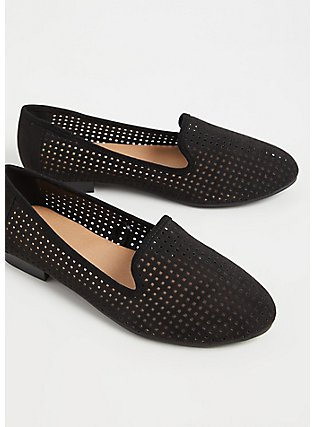 Black Faux Suede Perforated Loafer (WW), BLACK, alternate