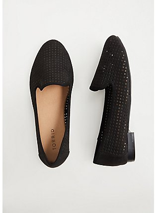 Plus Size Black Faux Suede Perforated Loafer (WW), BLACK, hi-res