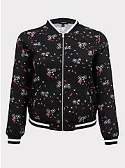 Black Crepe Floral & Bike Bomber Jacket, FLORAL, hi-res