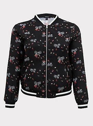 Black Crepe Floral & Bike Bomber Jacket, FLORAL, flat