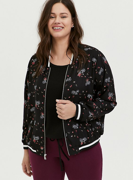 Plus Size Black Crepe Floral & Bike Bomber Jacket, , hi-res