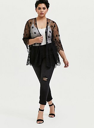 Black Embroidered Mesh Kimono, DEEP BLACK, alternate