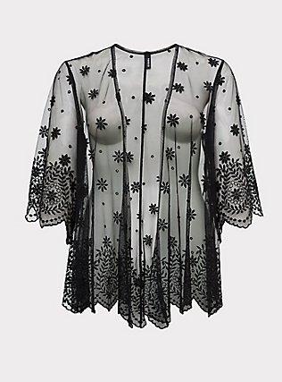 Black Embroidered Mesh Kimono, DEEP BLACK, flat