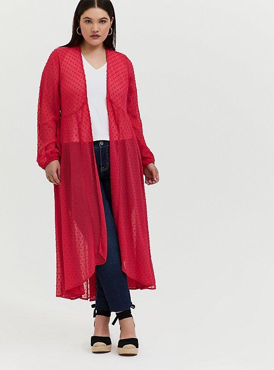 Plus Size Fuchsia Pink Swiss Dot Hi-Lo Kimono, , hi-res