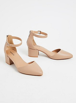 Nude Faux Leather Pointed Toe Block Heel (WW), NUDE, alternate