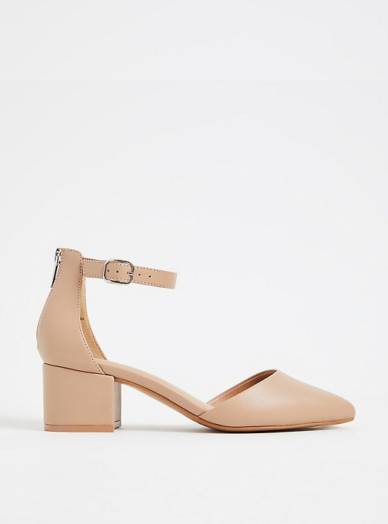Nude Faux Leather Pointed Toe Block Heel (WW), , hi-res
