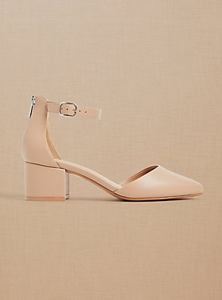 Nude Faux Leather Pointed Toe Block Heel (WW), NUDE, pdped