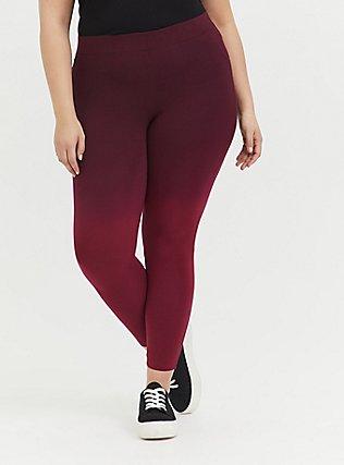 Crop Premium Legging -  Dip-Dye Burgundy Red, MULTI, alternate