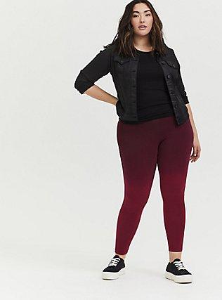 Crop Premium Legging -  Dip-Dye Burgundy Red, MULTI, hi-res