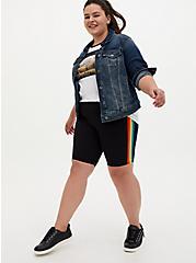 Black Rainbow Stripe Bike Short, RAINBOW, hi-res