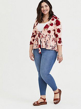 Peach & Red Floral Self-Tie Babydoll Cardigan, FLORAL - PINK, alternate