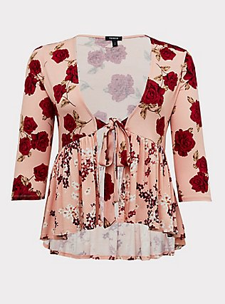 Plus Size Peach & Red Floral Self-Tie Babydoll Cardigan, FLORAL - PINK, flat