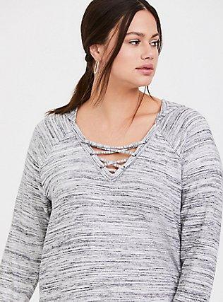 Super Soft Plush Light Grey Space-Dye Crisscross Hoodie, CHARCOAL HEATHER, alternate