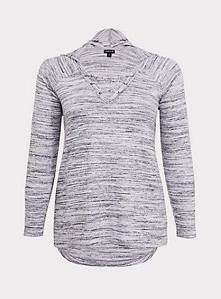 Super Soft Plush Light Grey Space-Dye Crisscross Hoodie, CHARCOAL HEATHER, flat