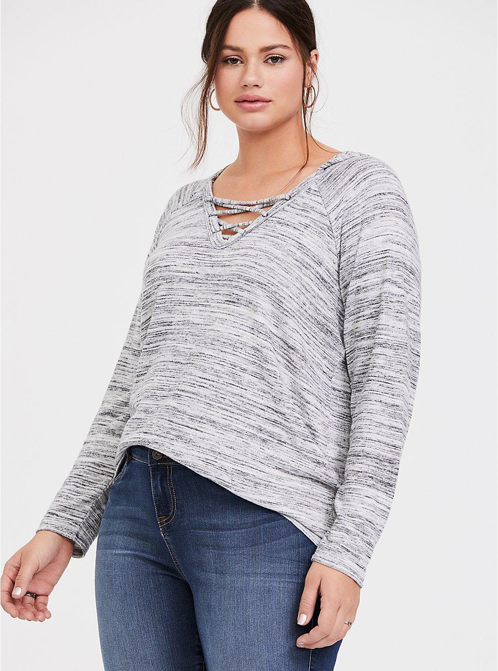 Super Soft Plush Light Grey Space-Dye Crisscross Hoodie, CHARCOAL HEATHER, hi-res