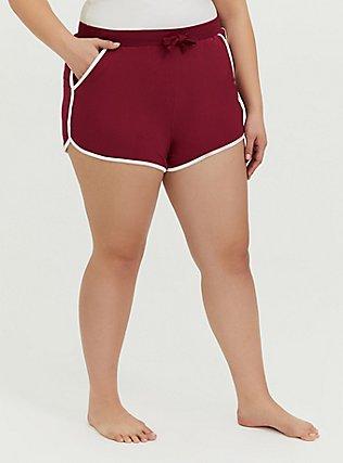 Plus Size Burgundy Red & White Sleep Shorts, BURGUNDY, alternate
