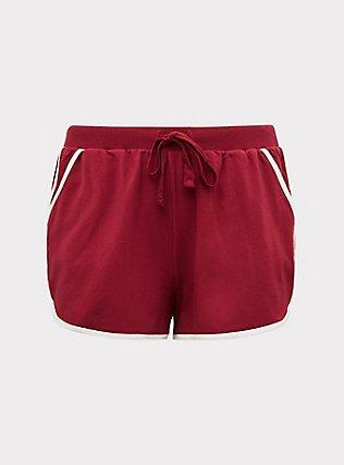 Plus Size Burgundy Red & White Sleep Shorts, BURGUNDY, flat