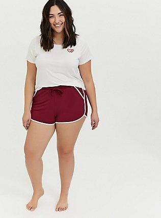 Plus Size Burgundy Red & White Sleep Shorts, BURGUNDY, hi-res