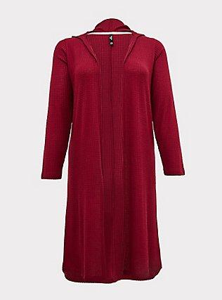 Plus Size Dark Red Waffle Hooded Sleep Cardigan, BURGUNDY, flat