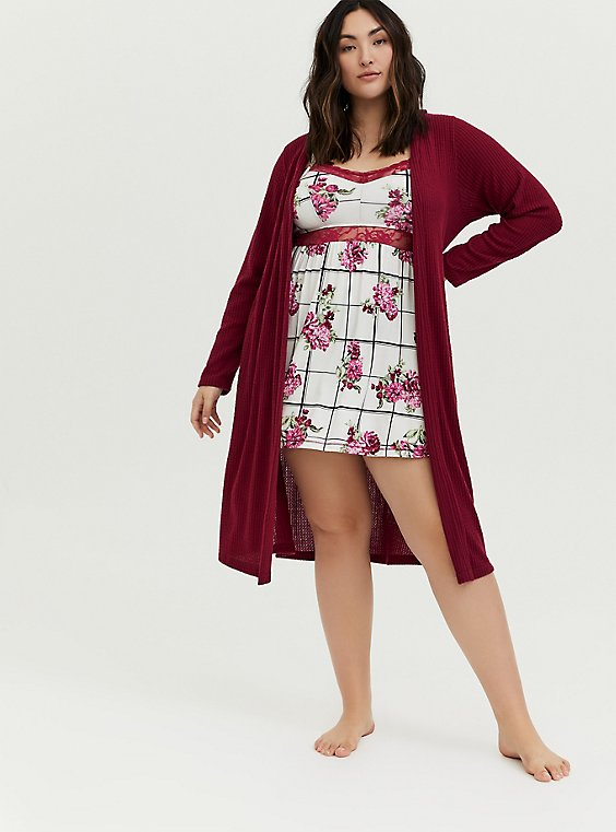 Dark Red Waffle Hooded Sleep Cardigan, , hi-res